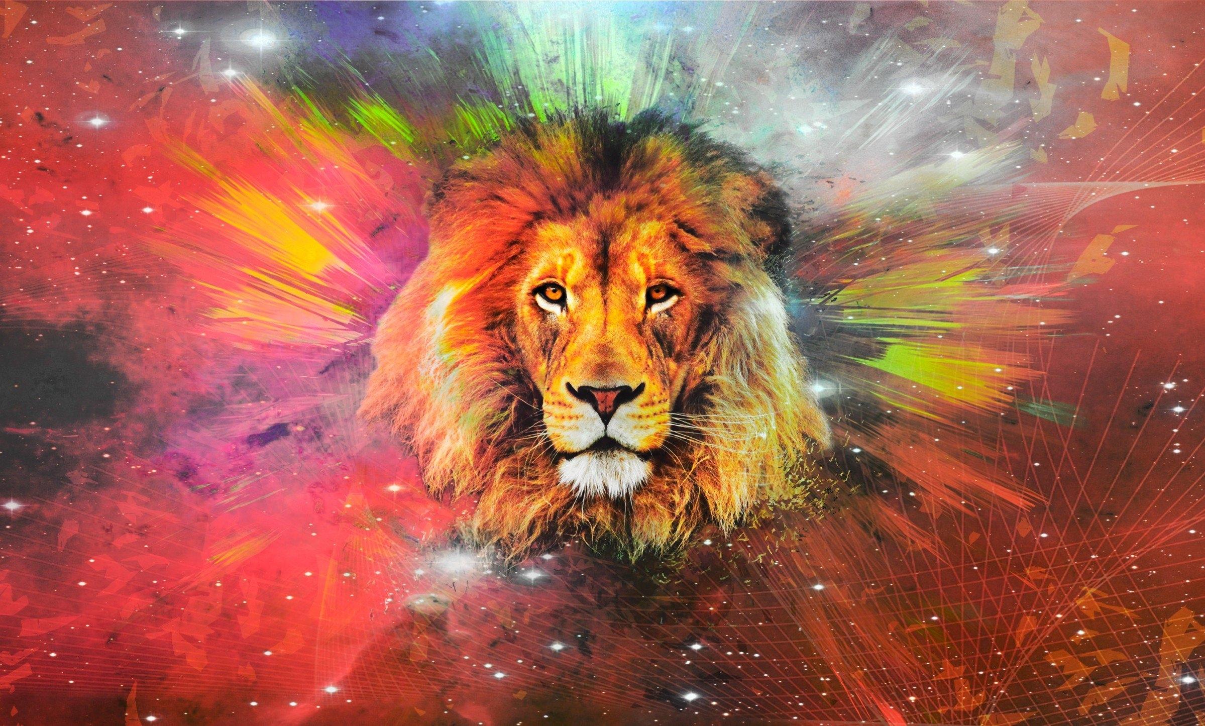 León con colores de acuarela