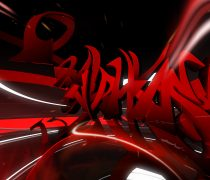 Graffiti 3D en color rojo