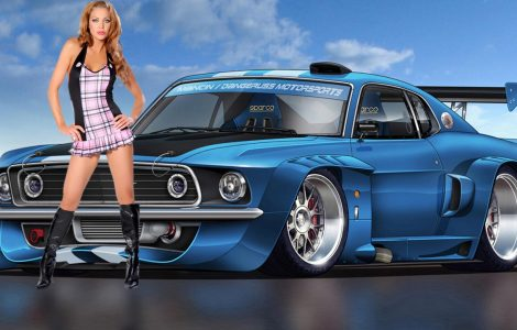 Chicas y coches HD Wallpaper