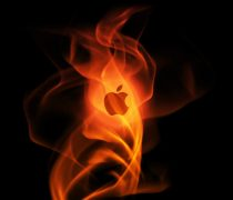 Wallpaper del Logotipo Apple envuelto en llamas