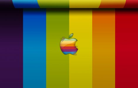 Bandas de Colores de Fondo con el Logotipo de Apple