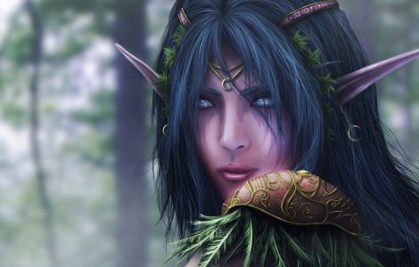 Imagen gratis del rostro de una Elfa de la saga world of warcraft, en HD.